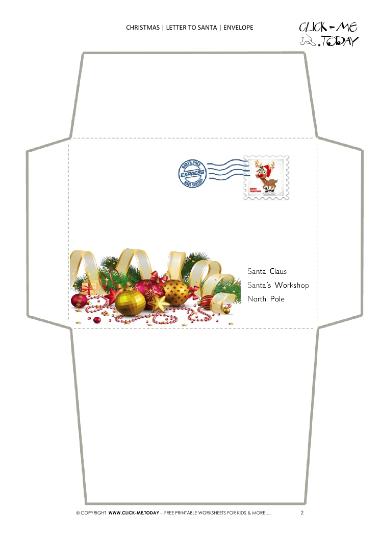 Free printable Christmas envelope to Santa template with stamp 2